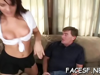 Mouthwatering babe forced to suck chili dog