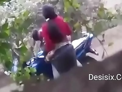 Desi couple standing fuck in forest